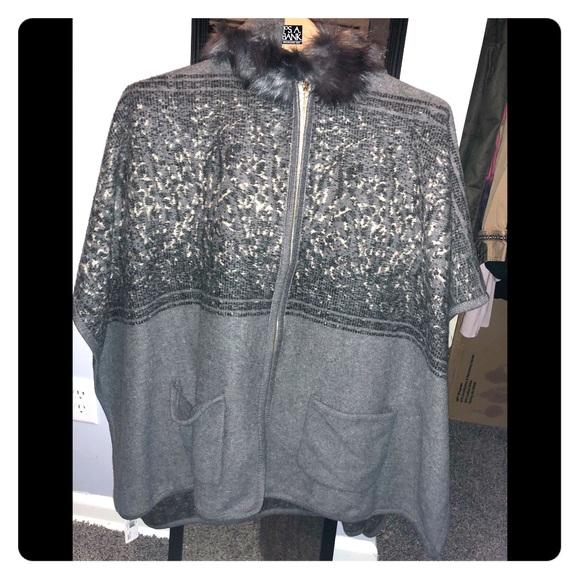 c63add646 Gray & Black Oxford Zipper Poncho w/ Faux Fur NWT